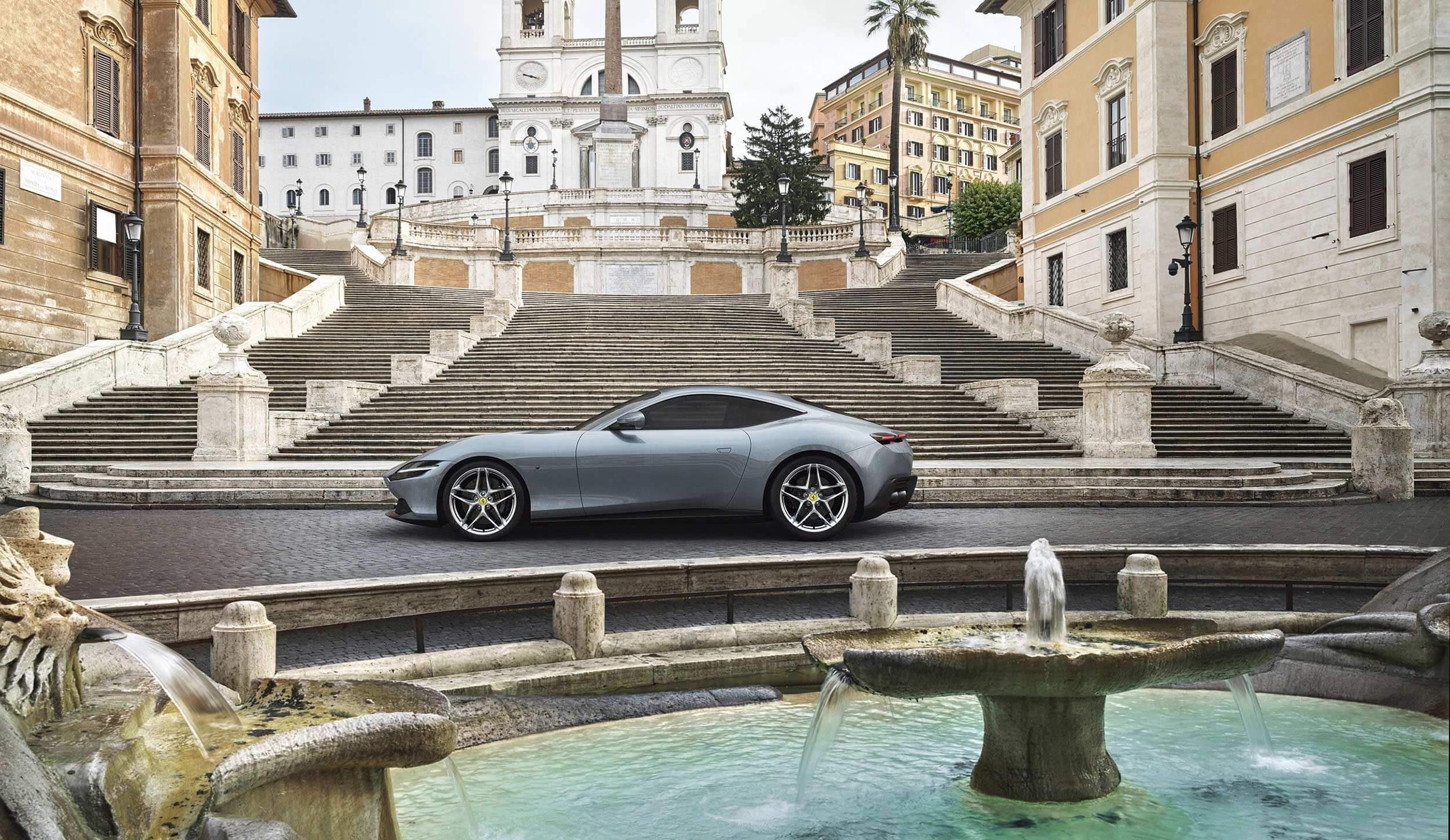 Ferrari near steps