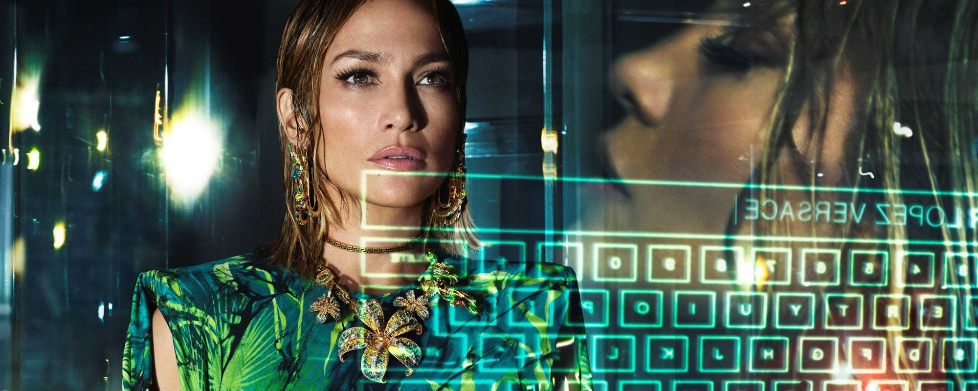 Versace Jennifer Lopez and keyboard