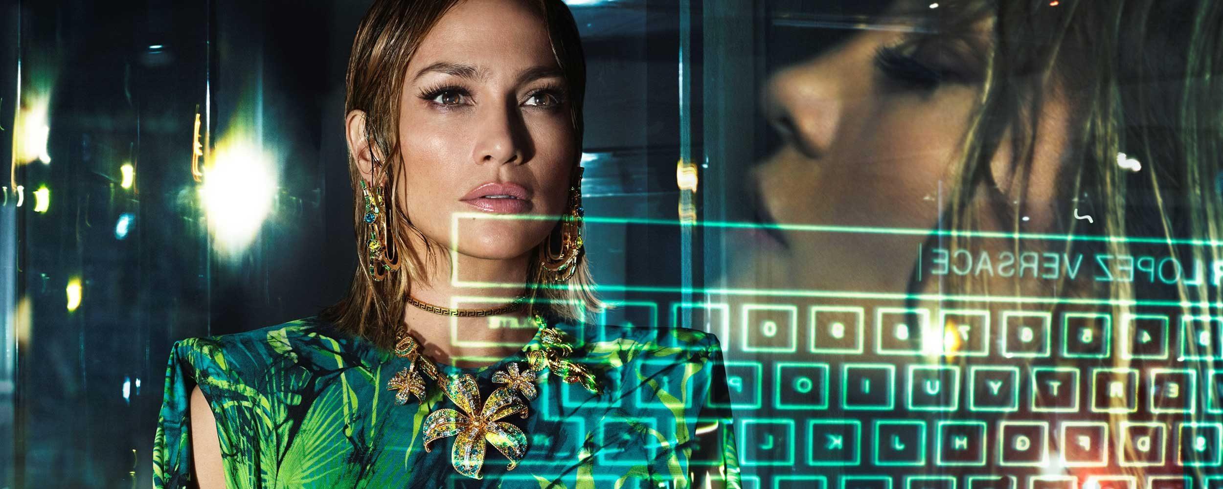 Versace Jennifer Lopez and keyboard